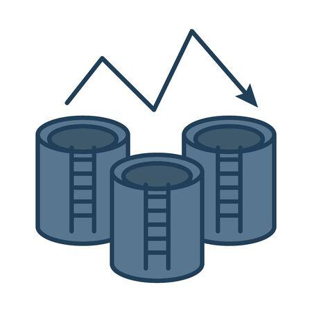 oil tanks refinery fill style icon vector illustration design