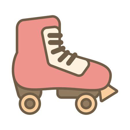 skate roller child toy block style icon vector illustration design 일러스트