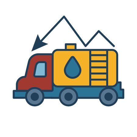 oil truck with arrow fill style vector illustration design