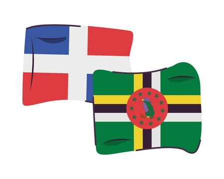 dominican republic and dominica flags countries isolated icon vector illustration design