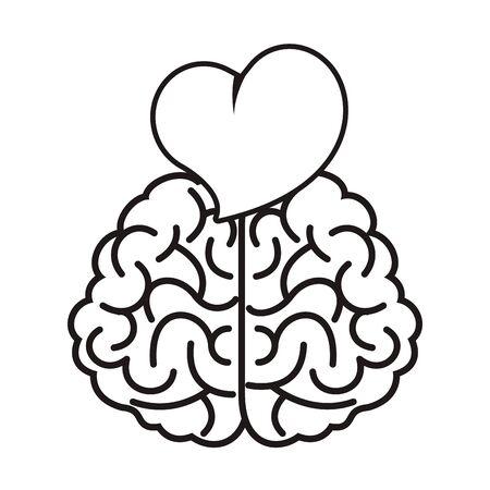 brain with heart love icon vector illustration design Ilustración de vector
