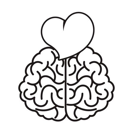Cerveau avec coeur amour icône vector illustration design Vecteurs