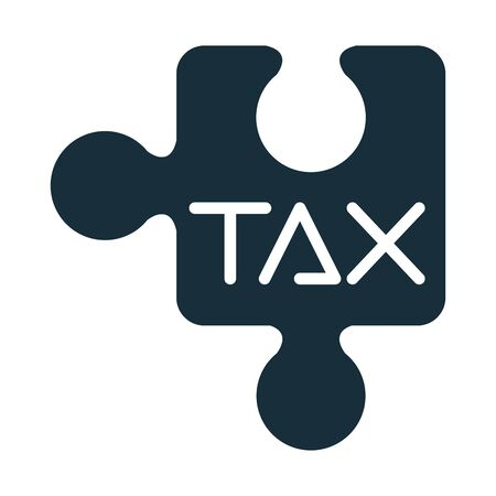tax obligation with puzzle piece silhouette style vector illustration design