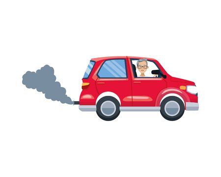 car vehicle polluting isolated icon vector illustration design Ilustracja