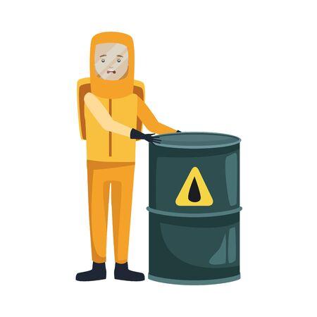 man with biohazard suit and barrel character vector illustration design Vecteurs