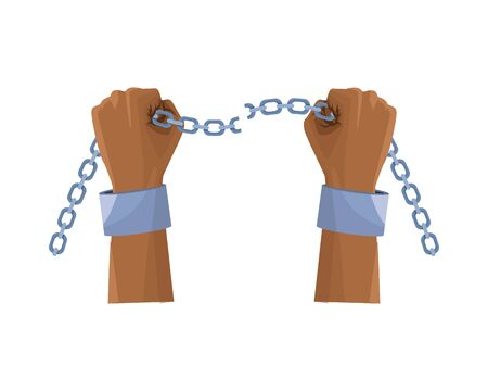 slave hand with chain icon vector illustration design