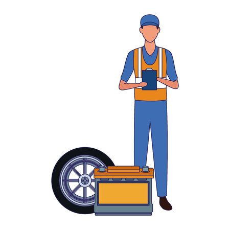 mechanic standing with battery and car tire over white background, vector illustration