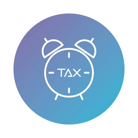 tax obligation with alarm clock degraded style vector illustration design