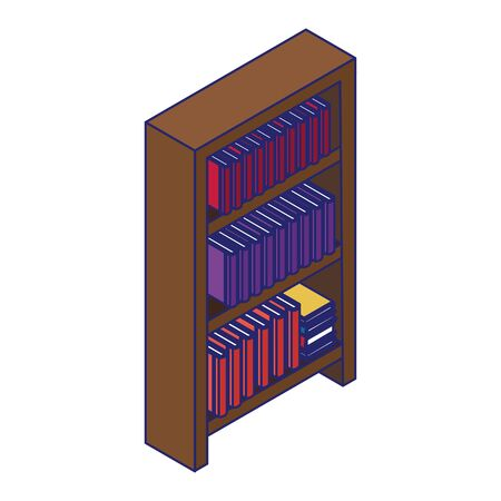 wooden bookshelf icon over white background, vector illustration Vectores