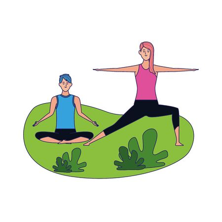 relaxed couple doing yoga outdoor over white background, colorful design, vector illustration Illustration
