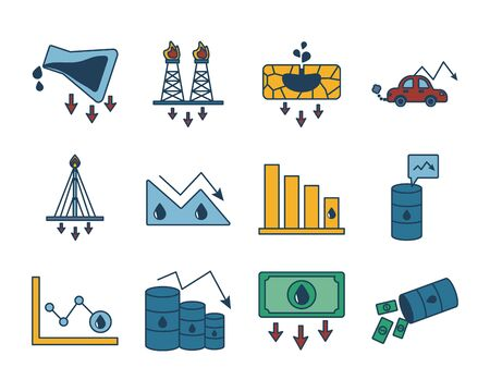 bundle of oil prices set icons vector illustration design