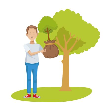 environmentalist man planting tree character vector illustration design
