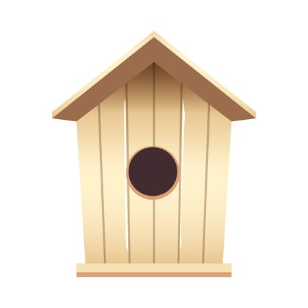 wooden birdhouse flat style icon vector illustration design