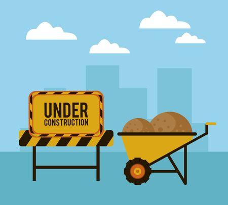under construction scene with wheelbarrow vector illustration design Ilustracja
