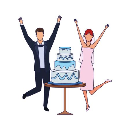avatar excited groom and bride around the wedding cake over white background, vector illustration 矢量图像