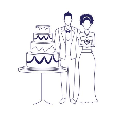 bride and groom and wedding cake over white background, vector illustration 矢量图像