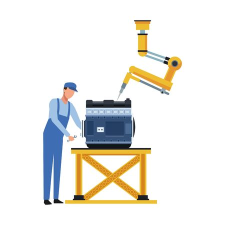 car mechanic and robotic arm fixing a car motor over white background, vector illustration