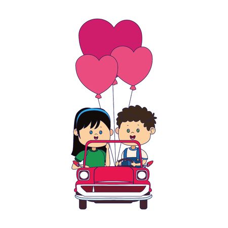 Happy boy and girl in a classic car with heart balloons over white background, vector illustration Иллюстрация