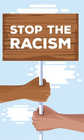 interracial hands with wooden label stop racism campaign vector illustration design Stock fotó - 142748160