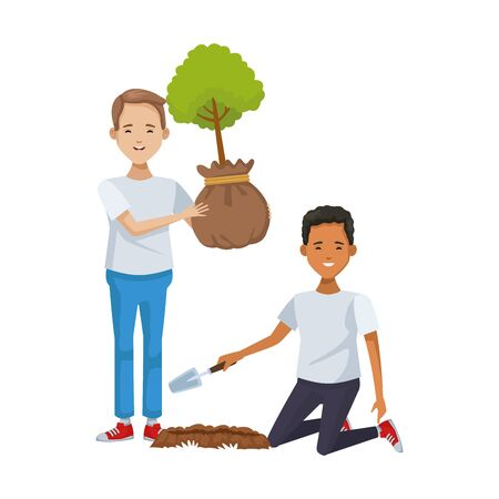 environmentalists men planting avatars characters vector illustration design 向量圖像