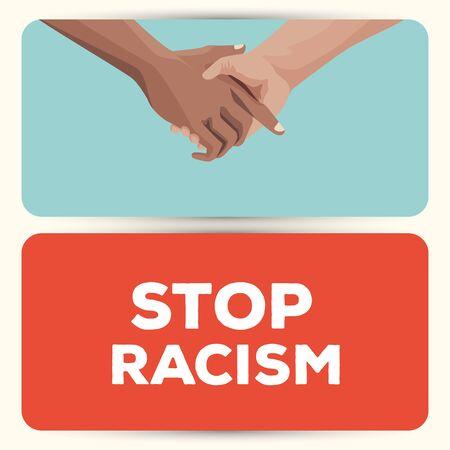 interracial handshake stop racism campaign vector illustration design Illustration