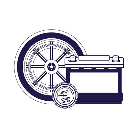 car tire and battery icon over white background, flat design, vector illustration Illustration