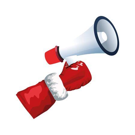 santa claus hand holding a megaphone over white background, colorful design, vector illustration  イラスト・ベクター素材
