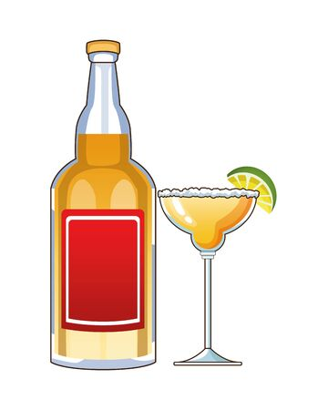 tequila bottle and cocktail cup mexican drink vector illustration design Vetores