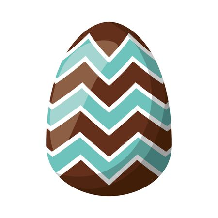 easter egg painted with geometric lines flat style vector illustration design