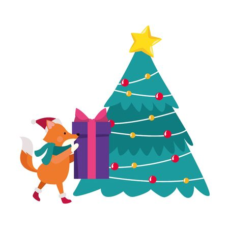 christmas tree and cute fox holding a gift box over white background, vector illustration