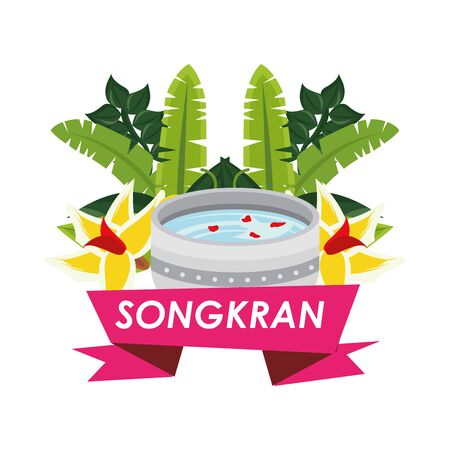 bowl with water songkran ribbon vector illustration design Illustration