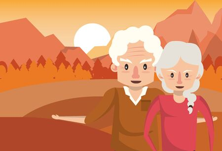 cute grandparents couple lovers in the sunset landscape vector illustration
