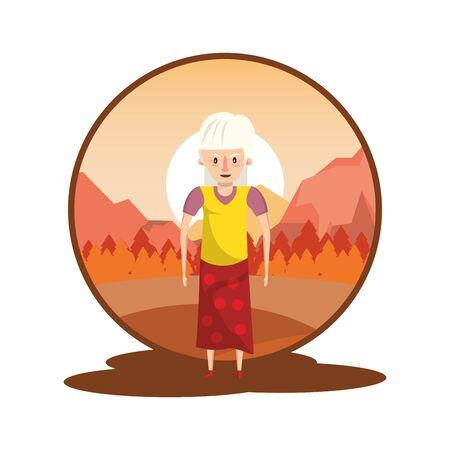 cute grandmother in the sunset landscape vector illustration design 向量圖像