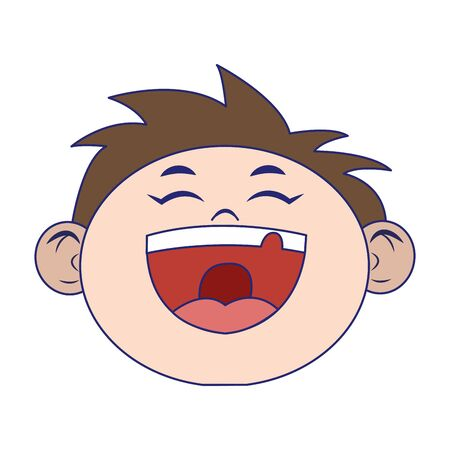 cartoon boy laughing icon over white background, vector illustration 向量圖像