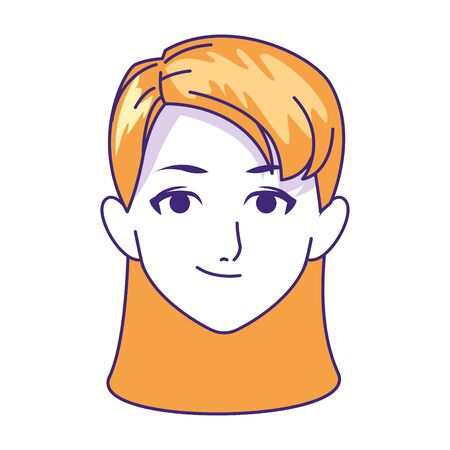 young woman face icon over white background, vector illustration 向量圖像