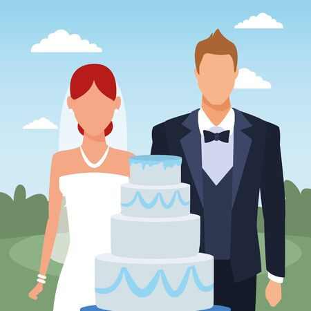 just married couple with wedding cake, colorful design, vector illustration