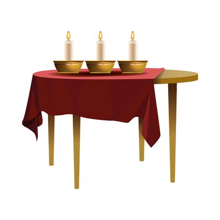 Antique dish and candles in table vector illustration graphic design