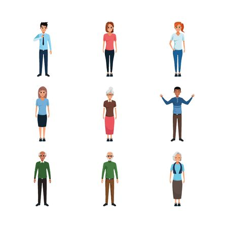 cartoon old people and adults standing icon set over white background, vector illustration