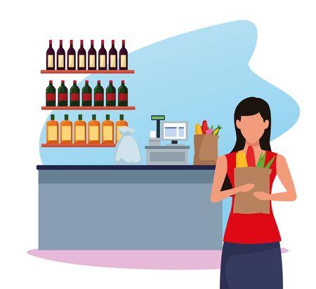 avatar woman holding a bag with food over supermarket cash register over white background, colorful design , vector illustration