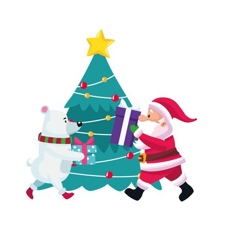 christmas tree with polar bear and santa claus with gift boxes over white background, vector illustration  イラスト・ベクター素材