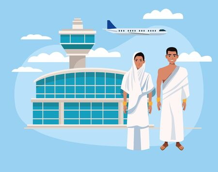 couple of muslims characters in airport vector illustration design