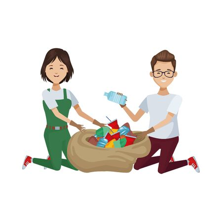 environmentalists couple recycling avatars characters vector illustration design Ilustração