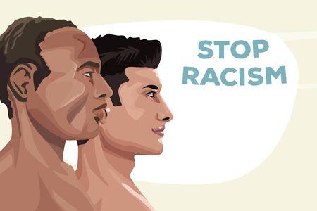 couple of interracial men stop racism campaign vector illustration design Illustration