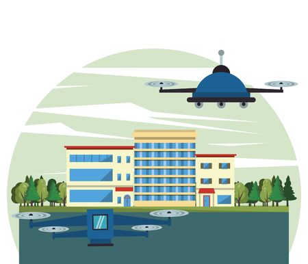 drone technology flying on the city vector illustration design