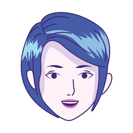 cartoon woman head with short hair icon over white background, vector illustration