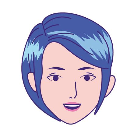 cartoon woman head with short hair icon over white background, colorful design, vector illustration 向量圖像