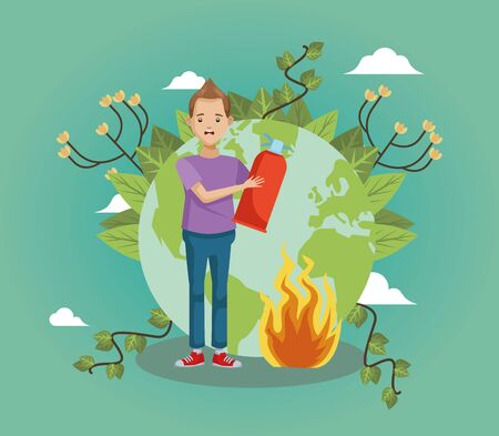 young man environmentalists putting out forest fire vector illustration design