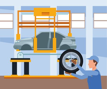 car repair shop scenery with mechanic holding a car tire and car lifted,colorful design, vector illustration Ilustracja