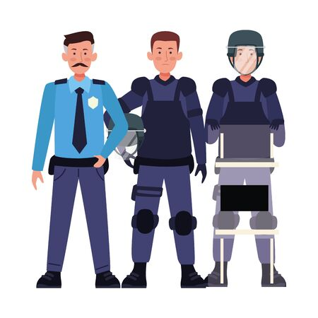 group of riot polices with uniforms characters vector illustration design