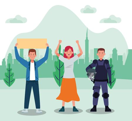 activists people protesting with riot police vector illustration design Illustration